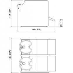 Λουτήρας κομμωτηρίου Privacy wash e double color με υποπόδιο